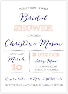 Blue and Coral Bridal Shower Invitations