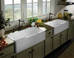 Sinks and Faucets -- classic farmhouse with clean, modern lines