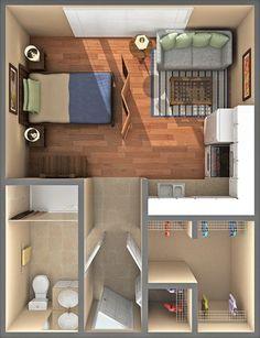 Small Studio Apartment Layout Design Ideas – home design - Modern Studio Apartment Floor Plans, Studio Apartment Layout, Small Studio Apartments, Studio Apartment Decorating, Apartment Decoration, Studio Apartment Furniture, Small Apartment Layout, Studio Layout, Modern Apartments