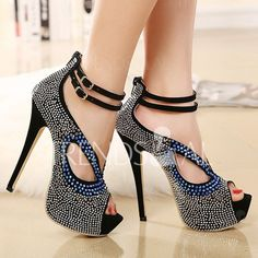 Stunning Rhinestones and Hollow Out Design Women's Peep Toed Shoes