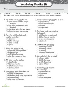 Printables Vocabulary Practice Worksheets vocabulary practice alphabetizing synonyms and more worksheets choose the definition