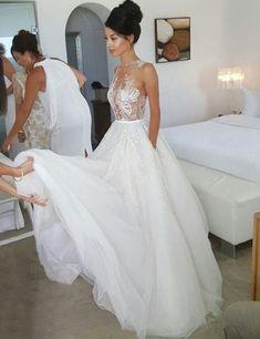 White Wedding Dresses, A-Line Wedding Dress,Lace Wedding Dress,Sleeveless Bridal Dresses,Design Wedding Dresses,Tulle Wedding Dress,Luxury Wedding Dresses #laceweddingdresses