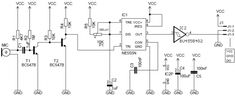 Simple circuit schematic sound processor using IC 555 with microphone input system. Diy Electronics, Electronics Projects, Simple Circuit, Electrical Wiring Diagram, Audio Amplifier, Circuit Diagram, Electrical Engineering, Arduino, Physics