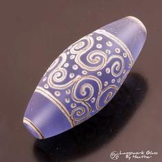 Lampwork Art Bead Silvered Ivory Scrolls Lines Dot Blue Etched Sea Glass Bicone Focal Bead Handmade Glass Heather Behrendt  BHV SRA LETeam