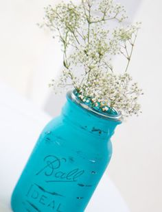 DIY chalkboard painted jars for centerpiece