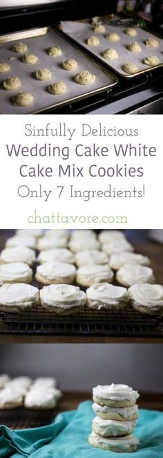 Cake White Cake Mix Cookies - Chattavore These wedding cake white cake mix cookies are sweet, buttery, and almond-flavored. They taste just like the cakes at Federal Bake Shop, my favorite bakery! White Cake Mix Cookies, White Cake Mixes, Wedding Cake Cookies, Wedding Cake Flavors, Wedding Recipe, Wedding Cookie Recipes, White Wedding Cakes, Cool Wedding Cakes, Wedding White