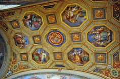 Ceiling frescoes in the sala dell'Immacolata, Vatican Museums, Rome