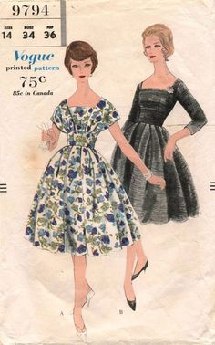 1950's VTG VOGUE Dress Pattern 9794 Size 14