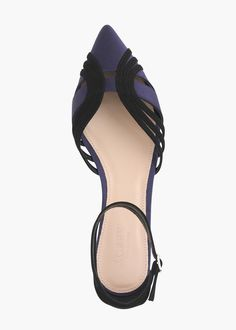 suede and satin ankle-strap flat