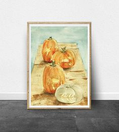 Coastal Carved Pumpkin DIGITAL Watercolor Painting
