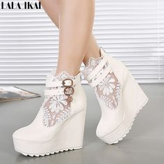65adc6683b6c 2015 Brand Design Cut-outs Lace Shoes Woman High Heels Summer Boots Wedge  Ankle Boots Platform Sandals zapatos mujer (Mainland)). Kelley Colvin