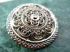 Lacework Filigree Metal Buttons , Silver Color , Shank , 1.18 inch , 7 pcs by Lyanwood, $6.00
