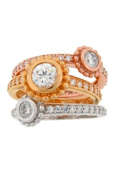 Stacking CZ Ring Set by Dazzling Jewelry Treasures on @HauteLook