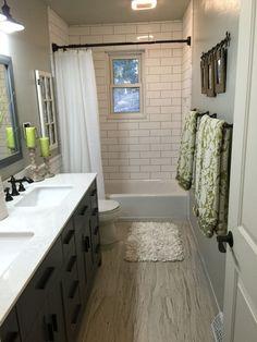 Subway tiles bathroom - 50 lovely small master bathroom remodel on a budget 8 Hall Bathroom, Upstairs Bathrooms, Bathroom Kids, Bathroom Renos, Simple Bathroom, Basement Bathroom, Bathroom Renovations, Modern Bathroom, Upstairs Hallway