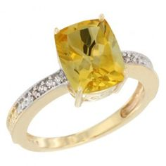 14K Yellow Gold Diamond Cushion 10x8 mm Natural Citrine Stone Ring. This Attractive Ring is made in the USA, 14K Yellow Gold with Natural Gemstones accented with Genuine Brilliant Cut Diamonds.
