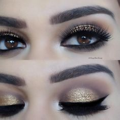 Gold glam using the Nudie PATOOTIE palette ❤️ Pixie lux… Sexy Makeup, Kiss Makeup, Beauty Makeup, Hair Makeup, Makeup Goals, Makeup Inspo, Makeup Inspiration, Makeup Ideas, Makeup Tips Eyeshadow