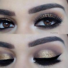 Gold glam using the Nudie PATOOTIE palette ❤️ Pixie lux… Sexy Makeup, Kiss Makeup, Makeup Art, Beauty Makeup, Hair Makeup, Makeup Tips Eyeshadow, Eyeshadow Looks, Makeup Cosmetics, Makeup Goals