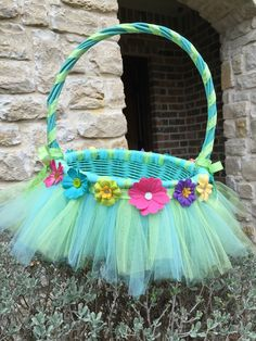 Tulle Easter Basket with flowers for a little girl