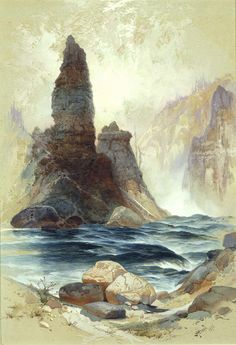 Above Tower Falls, Yellowstone by Thomas Moran / Above Tower Falls, Yellowstone, 1872. Thomas Moran, born Bolton, England 1837-died Santa Barbara, CA 1926 watercolor and gouache on paper sheet: 15 x 10 1/2 in. (38.1 x 26.7 cm) Smithsonian American Art Museum