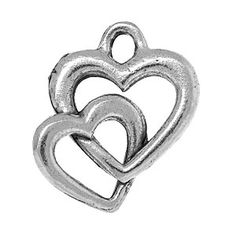 16x14mm Antique Pewter Interlinked Heart Charm | Fusion Beads