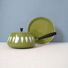Vintage Cathrineholm Lotus Green and White Fondue Pot