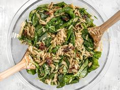 Spinach orzo salad with balsamic vinaigrette