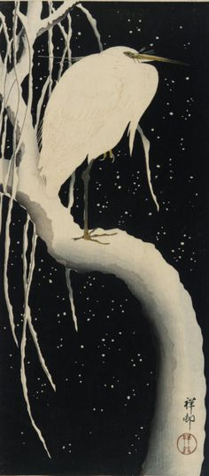 artandopinion:    Egret Against Night Sky Ohara Koson