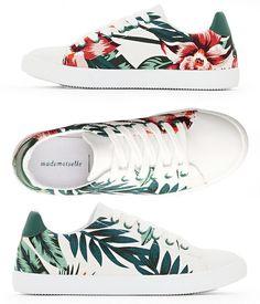 b5e7d53ccd2 Baskets Blanches imprimé Tropical Fleurs - Mode Femme - MADEMOISELLE R