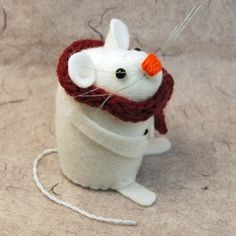 Christmas Snowman Mouse ornament felt mouse by TheHouseOfMouse