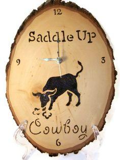 $45.00 Cowboy Clock woodburned clock by PurpleCowArt on Etsy
