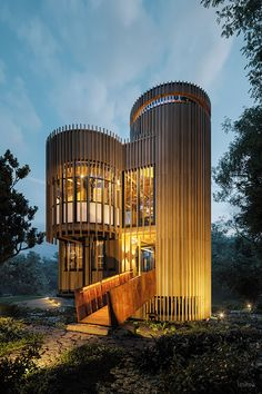 Tree House Constantia on Behance Luxury Tree Houses, Silo House, Tree House Designs, Parks, Bamboo House, Modern Architects, Small Buildings, Interior Architecture, House Styles