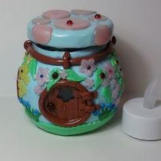 Tealight Holder, Fairy House, Polymer Clay Jar Candle House.