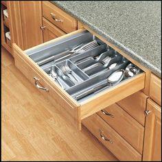 "Rev-A-Shelf GCT-4W-52 Glossy White CT Series 21.875"" Wide x 21.25"" Deep Polymer Cutlery Tray - PullsDirect.com"