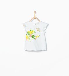 ZARA - REBAJAS - Camiseta estampado pájaros