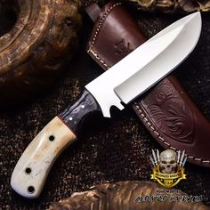 ALONZO KNIVES USA CUSTOM HANDMADE TACTICAL HUNTING 1095 KNIFE CAMEL BONE 2859 #AlonzoKnives