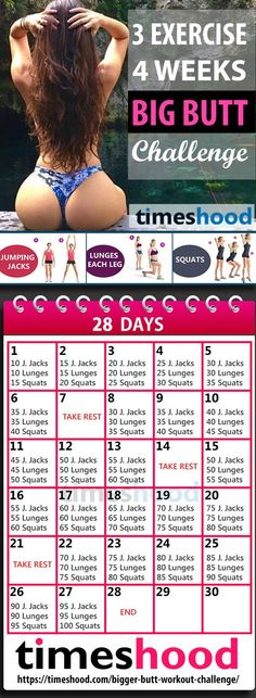 30 days Big butt workout challenge for women. No Gym, No Equipments, Butt exercises for beginners. Follow this 3 Exercise and 4 Weeks Butt workout plan for fast results. Best Butt exercises at home. Big Bootyworkout plan for 30 days. https://timeshood.com/bigger-butt-workout-challenge/