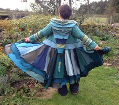 Upcycled Sweatercoat Dress Recycled Wool Knitwear in greens, blues, teal, turquoise. Fairisle. Cable. Pixie Hood, Small size Handmade in UK.