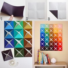 How About Making This Folded Paper Wall Art? - http://www.amazinginteriordesign.com/making-folded-paper-wall-art/