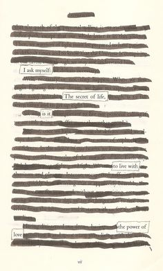 The Secret of Life- Blackout Poem by Kevin Harrell www.blackoutpoetry.net