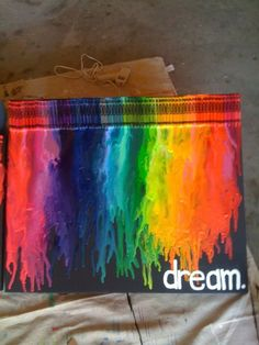 DIY Melting Crayon Wall Art. This is one of the best looking ones I've seen (other than really cool ones on Etsy using different color palettes), because I like the black paper background. I liked this tutorial at 52 Kitchen Adventures here. Couldn't find any match on tineye or google image search, so the source is Pinterest here.