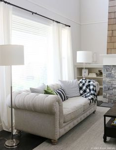 White curtains soften windows, give a touch of privacy and bring warmth to a space without feeling heavy. (image source) In a bedroom, a family room, offic Beige Curtains, Ikea Curtains, Green Curtains, Curtains Living, Colorful Curtains, Window Curtains, Short Curtains, Double Curtains, Striped Curtains