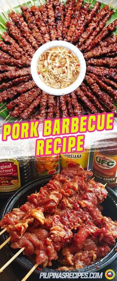 The Filipino Pork Barbecue (Pork BBQ) is everyone's favorite where the skewers are grilled on fire right in front of you. It is a marinated slice of pork thread on a skewer and grilled to perfection. #FilipinoFoods #PilipinasRecipes #Barbecue #BBQ #PorkBarbeque