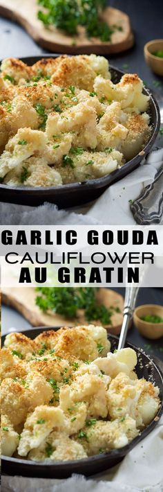 Garlic Gouda & Parmesan Cauliflower Au Gratin is the perfect side dish for your holiday table but easy enough for any weeknight dinner! Tender cauliflower blanketed in a double cheese sauce and crunchy panko topping!