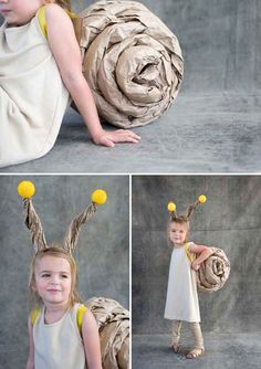 Roll up craft paper for the cutest snail costume ever.