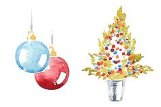 Watercolor Christmas clipart set - Illustrations