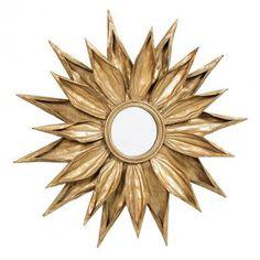 Gold Sunflower Mirror by Daisy West Sun Mirror, Metal Mirror, Round Wall Mirror, Round Mirrors, Mirrored Furniture, Art Furniture, Flower Mirror, Shabby Chic Mirror, Gold Interior