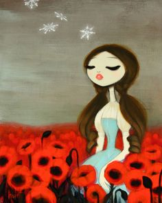 Snowfall Over Poppies (based on the Wizard of Oz) acrylic/mixed media on wood Gallery 1988 Los Angeles in Paintings by Krista Huot Art And Illustration, Illustrations, Arte Lowbrow, Grafik Design, Wizard Of Oz, Vintage Roses, Rockabilly, Amazing Art, Awesome