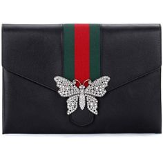 Gucci GucciTotem Leather Clutch (38,535 EGP) ❤ liked on Polyvore featuring bags, handbags, clutches, black, leather handbags, gucci purse, genuine leather purse, leather purse and gucci pochette