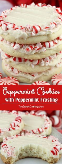 Peppermint Cookies with Peppermint Frosting - this light and buttery peppermint cookie topped with delicious peppermint frosting is a wonderful Christmas cookie recipe. This unique and tasty Ch Easy Holiday Cookies, Holiday Cookie Recipes, Holiday Desserts, Holiday Baking, Holiday Treats, Christmas Baking, Potluck Desserts, Christmas Recipes, Light Desserts