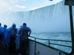 The Maid of the Mist ferry near the Horse Shoe Falls (this is Niagara Falls). You WILL get soaked!